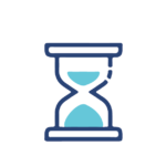 Icon of an hourglass to represent the time savings provided by an insurance broker