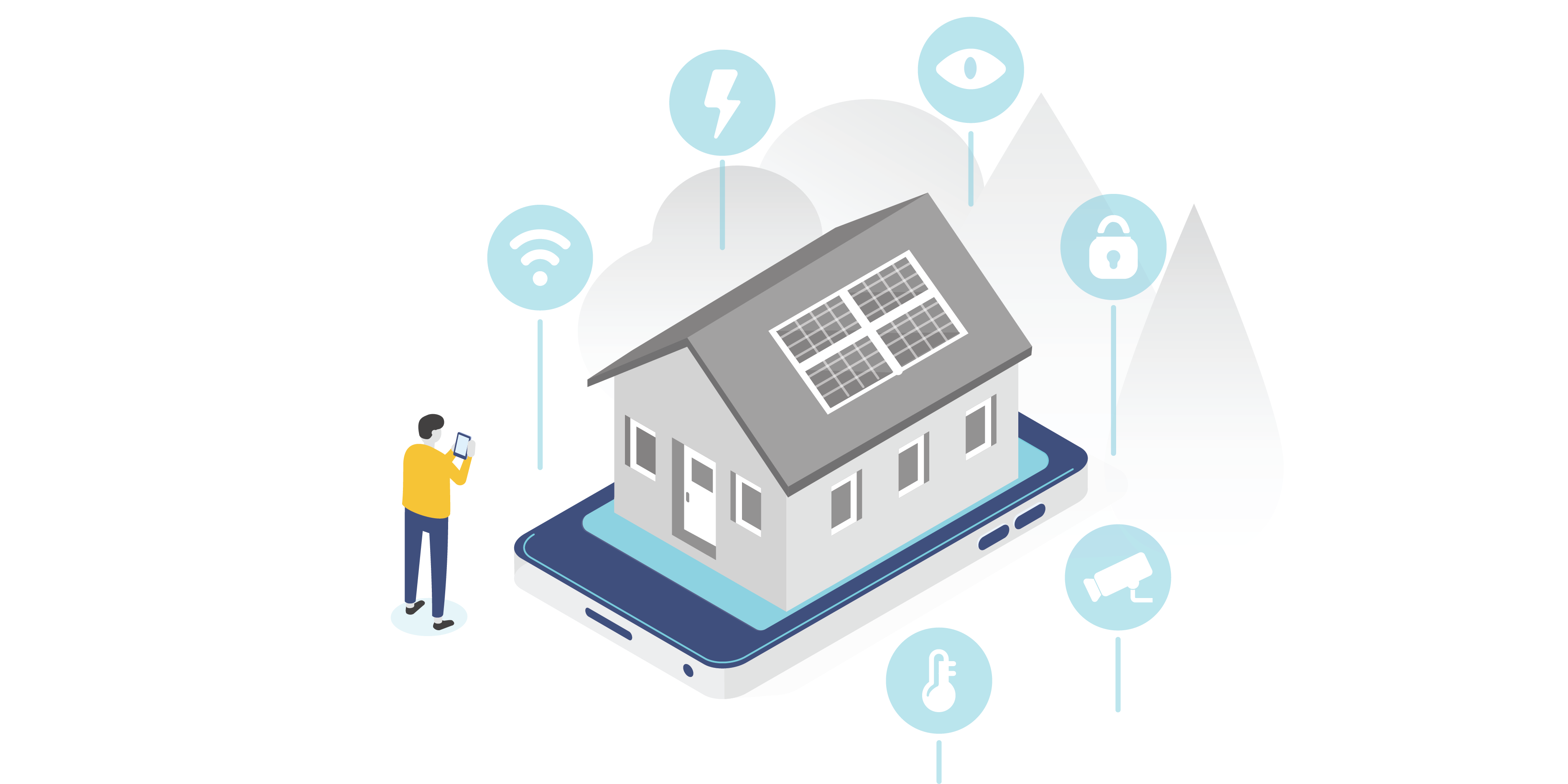Graphic with a home on a mobile device to represent how smart homes can add protection