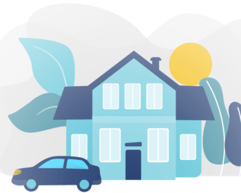 Graphic of a home and vehicle to represent bundling home and auto insurance