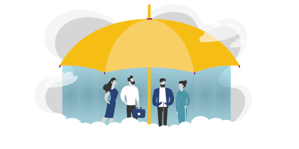 Graphic of an umbrella protecting people from the storm to represent how disability insurance from PROLINK keeps your safe