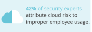 Graphic of a cloud to represent the fact that 42% of security experts attribute cloud risk to improper employee usage