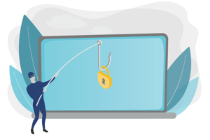 Graphic of a hacker phishing for data to represent the blog post from PROLINK about data security and privacy breaches