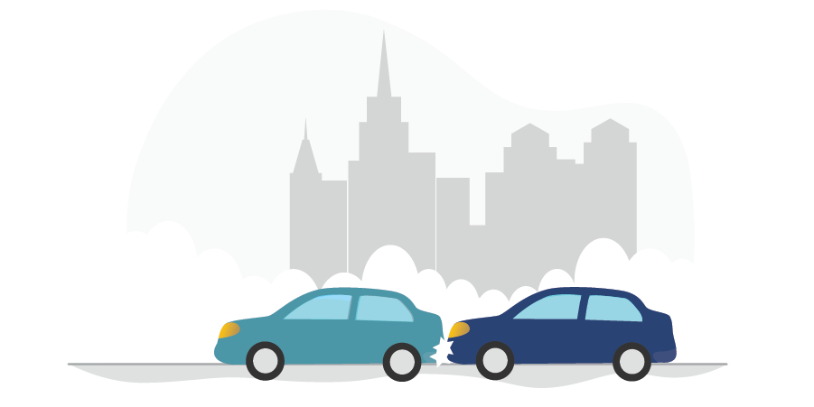 Graphic of two cars colliding to show the topic on what to do after a car accident by PROLINK