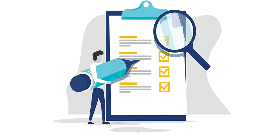 Graphic of a business person with a checklist and pencil to showcase the blog post topic of how business insurance will respond to COVID-19