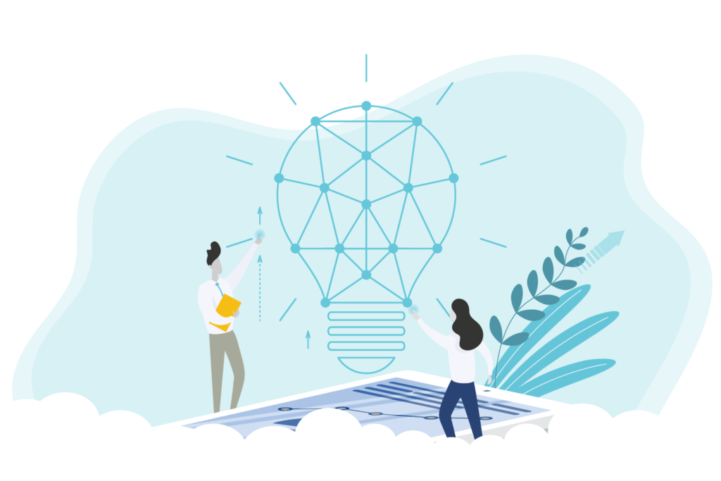 Graphic of people building a lightbulb to represent the founding of PROLINK
