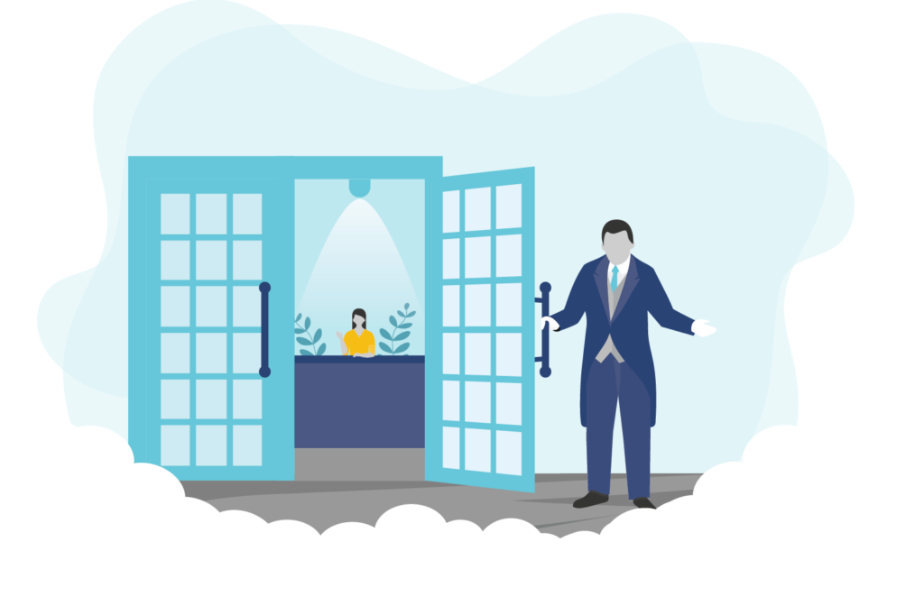 Graphic of a man holding open a door to our insurance brokerage services