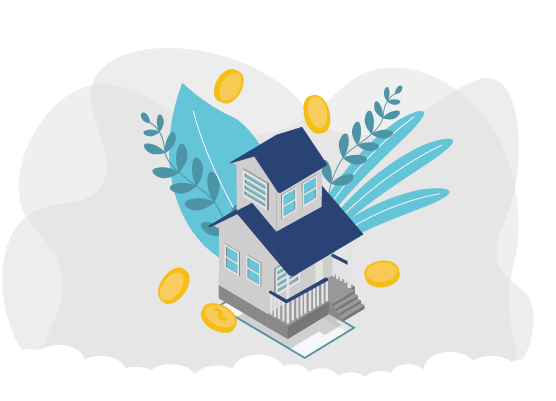 Graphic of a home with coins around for 11 cost saving tips for home insurance blog post