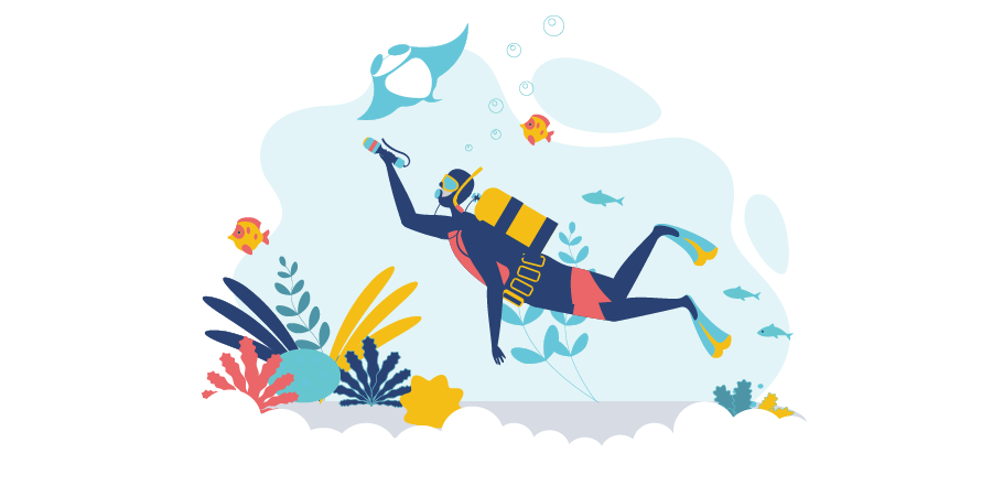 Graphic of a diver for the post exploring professional liability insurance