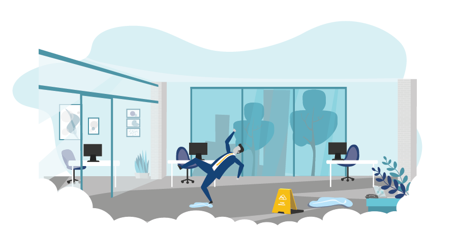 graphic of a person slipping in an office to show when companies need commercial general liability insurance