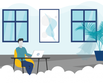 Graphic of a professional working remotely