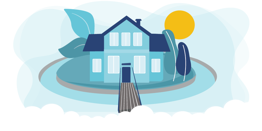 Graphic of a home protected by a moat to represent insurance coverage