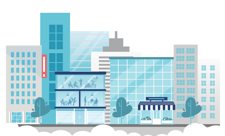 Graphic of enterprises and businesses in a city protected by PROLINK insurance solutions