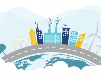 Graphic representing a cityscape with net zero buildings